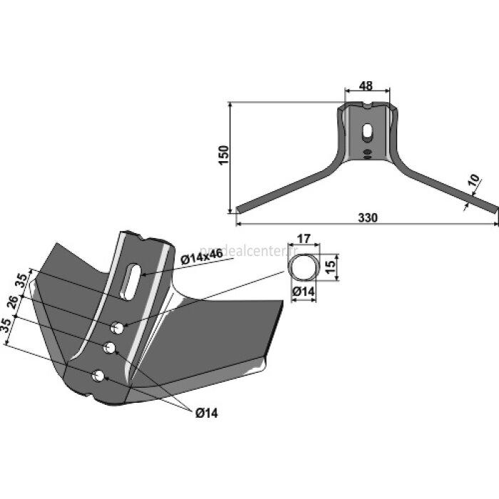 Support à ailettes adaptable 330 x 10 mm déchaumeur Vogel et Noot (CV008007)-1127821_copy-30