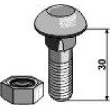 Boulon à tête bombée adaptable avec écrou 10.9 M12 x 1,75 x 30 mm boulonnerie Universelle-120030_copy-20