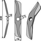 Couteau de herse en acier au bore modèle droit pour bêche rotative Hankmo-Tume 430 x 74 x 10 mm (97202882, 97202802)-124165_copy-20