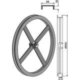 Elément en U lisse extérieur gauche adaptable largeur 60 mm diamètre 550 mm rouleau Universel-1794346_copy-20
