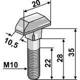 Boulon de chaîne galvanisé 8 x 31, 9 x 31 épandeur et évacuateur Mengele-132900_copy-20