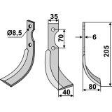 Lame modèle droit longueur 205 mm fraise rotative Adriatica-127211_copy-20