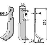 Lame modèle droit longueur 210 mm fraise rotative Agria-127246_copy-20