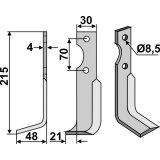 Lame modèle gauche longueur 215 mm fraise rotative Agria-127253_copy-20