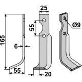 Lame modèle gauche longueur 165 mm fraise rotative Agria 69725-127324_copy-20