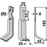 Lame modèle droit longueur 165 mm fraise rotative Agria 69726-127351_copy-20