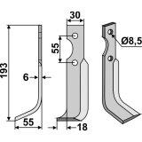 Lame modèle gauche longueur 193 mm fraise rotative BCS-127382_copy-20