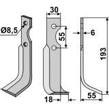 Lame modèle droit longueur 193 mm fraise rotative BCS-127385_copy-20