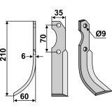 Lame modèle gauche entraxe 70 mm fraise rotative Valpadana-127526_copy-20