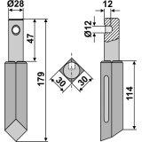 Dent rotative de rototiller Rau longueur : 179 mm (0049048)-131541_copy-20