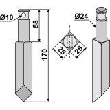 Dent rotative de rototiller Rau longueur : 170 mm (E 23374 0023374)-131749_copy-20
