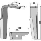 Dent gauche à montage rapide 300 x 60 x 18 mm herse rotative Amazone (954427)-131886_copy-20