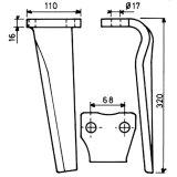 Dent gauche adaptable 320 x 110 x 16 mm herse rotative Kuhn (52539500)-1776042_copy-20