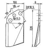 Décrotteur gauche de cultilabour 105 x 8 mm rotalabour Kuhn 52325300-13777_copy-20